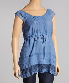 Look what I found on #zulily! Denim Lace Drawstring Cap-Sleeve Top - Plus by Simply Irresistible #zulilyfinds