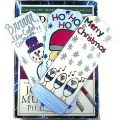 Set of Three Holiday Bookmarks, Set of Three Bookmarks, Winter Theme Bookmarks, Kids Stocking Stuffers, Kids Bookmarks, Kids Christmas Gifts by DivinitysDivineTouch on Etsy