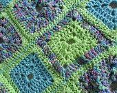 "Vintage Afghan / Throw / Blanket Crocheted Granny Squares 28"" X 28"" Lap Blanket Baby Afghan Shabby Chic Retro Art Deco 1980s"