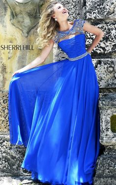 Gorgeous Royal Prom Dress Beads Sherri Hill 11181 Sale