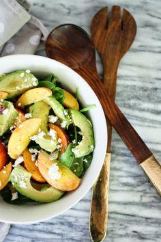peach, pistachio and avocado salad // #pbrecipes
