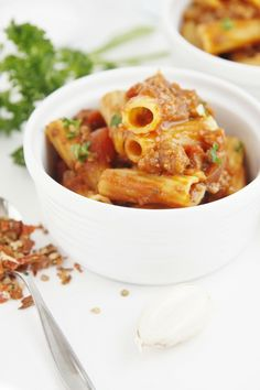 Weeknight Meat Sauce with Rigatoni - this looks really good but uses a pressure cooker, so I either need to adapt it to regular stovetop cooking or discover the wonders of pressure cooking.