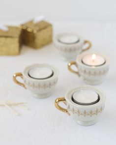 These truly elegant tea cup tealights are perfect favors for your tea party-themed bridal shower!