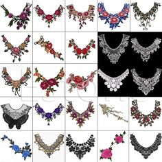 1PC Embroidered Floral Lace Neckline Neck Collar Trim Clothes Sewing Applique 17style Embroidery edge-in Lace from Home & Garden on Aliexpress.com | Alibaba Group
