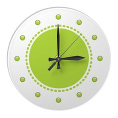 Modern kitchen wall clock with pretty green polka dot pattern and simple yet modern look. Turquoise Bathroom, Kitchen Wall Clocks, Wall Clock Design, Pretty Green, Polka Dot, Indoor, Simple, Modern, Prints