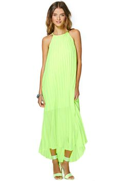 Lime Green Pleated Dress