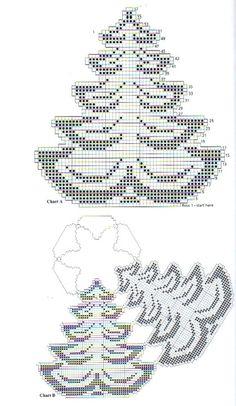 8 Carpetas de Navidad Tejidas en Crochet - Manualidades Y DIYManualidades Y DIY Filet Crochet, Crochet Motif, Crochet Doilies, Crochet Stitches, Knit Crochet, Crochet Christmas Ornaments, Christmas Crafts, Doily Patterns, Cross Stitch Patterns