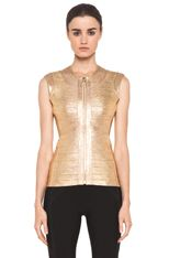 Herve Leger | Foil Vest in Gold