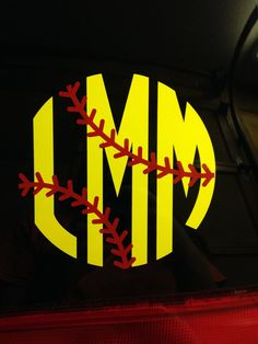 Softball or Baseball Monogram by YesMaamMonogramNC on Etsy