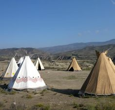 Tee-pees of the Western Leone movie location and theme park in the Tabernas desert