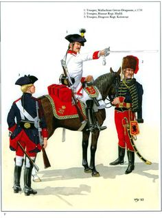 L to R Dragoon Regiment Kolowrat(Nr. Kaiser Karl, Osprey Publishing, Frederick The Great, Seven Years' War, Confederate States Of America, Holy Roman Empire, Kingdom Of Great Britain, Napoleonic Wars, Toy Soldiers
