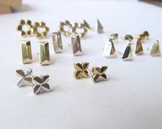 Modern stud earrings in brass silver or gold gem shapes | Etsy Moonstone Earrings, Sterling Silver Earrings Studs, Stud Earrings, Solid Gold Jewelry, Earring Backs, Brass, Amy, Geometric Shapes, Type