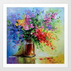 Wildflowers Art Print by olhadarchuk Acrilic Paintings, Small Canvas Art, Texture Art, Art Oil, Art Pictures, Flower Art, Painting & Drawing, Watercolor Paintings, Art Prints