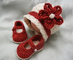 Crochet Baby Girl Hat and Booties Set, Holiday Set, Christmas Set, Newborn, 0-3 mos, 3-6 mos on Etsy, $28.00