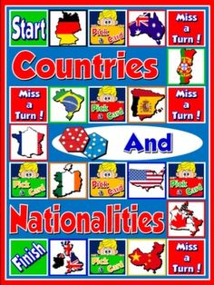 #COUNTRIES AND NATIONALITIES - BOARD GAME