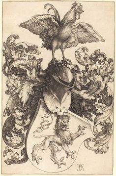 """""""Coat of Arms with a Lion and a Cock"""", 1503, Albrecht Durer."""