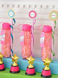 A Glam & Girlie Gymnastics Birthday Party // Hostess with the Mostess® 9th Birthday Parties, 10th Birthday, Birthday Party Favors, Birthday Fun, Birthday Ideas, Gymnastics Party Favors, Gymnastics Birthday, Gymnastics Cakes, Party Gifts