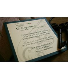 Olive Green Scroll Engagement Invitations  £2.25