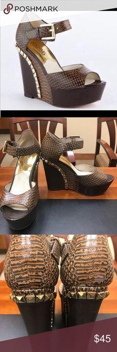11b1383b7 Michael Kors Ella Wedge heels Michael Kors Ella Wedge heels. Dark brown  snake print leather