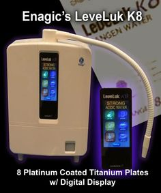 New International Water Ionizer Generator System: The LeveLuk K8: 8 platinum/titanium plates, universal power source works in any country, digital iPhone type display in 8 languages, thinner, sleeker, more powerful and available in the new Enagic iPhone/Android Smartphone App. Contact us to order yours today: 1-206-790-3135 www.FreshAlkalineWater.com