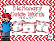 Dictionary Guide Word Task Cards from DiaryofaNotSoWimpyTeacher on TeachersNotebook.com -  (11 pages)  - Dictionary skills can be a difficult skill for students to master. These task cards will give them some extra practice in an engaging format.