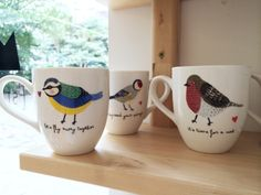 Tazas Pajaritos #mug #illustration #birds #autumn #maowdesignshop