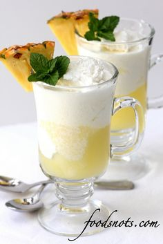 Pina Colada Ice Cream Floats by Food Snots. Add coconut ice cream, 2 cups pineapple juice, and 1 1/2 cup Sprite soda and enjoy!