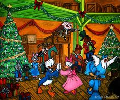 Fezziwig's Christmas Party by Bonniemarie on deviantART Christmas Tv Shows, Disney Christmas, Christmas Carol, Christmas Time, Disney Mickey, Disney Art, Children's Comics, Christmas Thoughts, Holiday Images