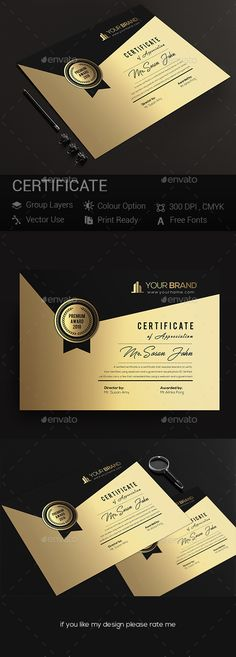 Certificates — Photoshop PSD #simple certificate #certificate business • Available here ➝ https://graphicriver.net/item/certificates/21058555?ref=pxcr