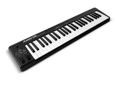 Alesis Q49 49-Key USB MIDI Keyboard Controller (velocity sensitive). $80  (Not semi-weighted, likely synth keys.)