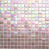 Premier Pink- Iridescent Glass Mosaic Tile, Product Code CG1434 from the Kaleidoscope ColorGlitz Glass Mosaic Tile Series, sold by the 1.15 s.f. Sheet, face-mounted on paper.