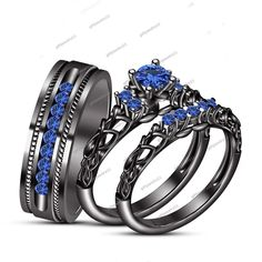1.20 Ct 925 Silver Blue Sapphire New Design Engagement & Wedding Trio Ring Set