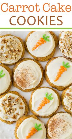 Carrot Cake Cookies with Cream Cheese Frosting - they taste just like the cake but in soft cookie form! A springtime must!