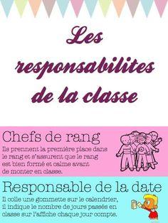 les responsabilités des élèves dans la classe
