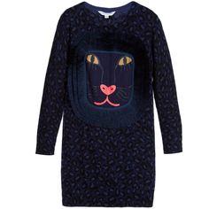 Little Marc Jacobs Girls Navy Blue Leopard Print Dress