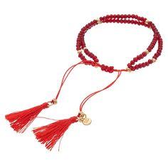 LC Lauren Conrad Birth Month Tasseled Slipknot Bracelet, Women's, Red