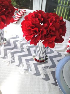 Red Hydrangea Christmas Centerpiece  Table by simplydivinebyjoann, $20.00