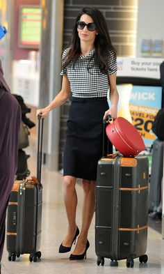 Amal Clooney arrives at Heathrow Airport