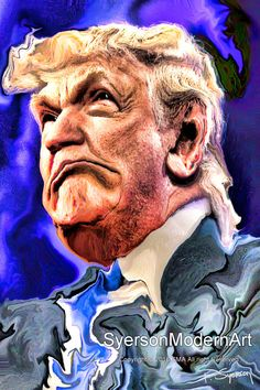 Donald Trump Twisty Caricature Portrait Modern Art Contemporary Digital Painting Giclee Canvas or Paper Print Political Cartoon