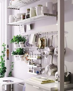 Cozinha. Kitchen - organization...love the hanging potted herbs!
