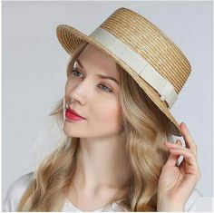 British style boater hat with bow hatband for women UV protection straw sun  hat. Summer Hats ... 03a8225e7152