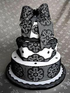 @KatieSheaDesign Likes-->  Black Bridal - black and white lace wedding cake
