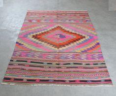 Pink Kilim rug 8'3''x6'1'' Floor kilim rug Turkish by orcunshop