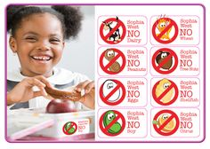 Fun and effective FOOD ALLERGY LABELS. Dishwasher and microwave safe. www.idmelabels.com