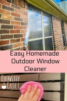 This is the easiest homemade outdoor window cleaner! Three ingredients will help you clean windows quicker and better! Plus, it is science based! Get these DIY on Chemistry Cachet