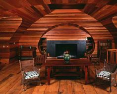 wooden living room and fireplace