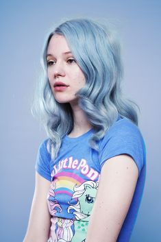 Arvida Byström for Polyester Magazine in pretty pastel blue