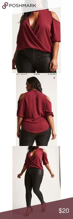 Forever 21 Open Shoulder Blouse Brand new with tags never worn. Wine colored Blouse. deep v-front, open shoulder and choker style neck button Forever 21 Tops Blouses
