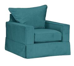 PB Comfort Square Arm Slipcovered Swivel Armchair, Knife Edge Polyester Wrapped Cushions, Vintage Velvet Bali