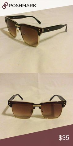 Unisex sunglasses Brown plastic frame and brown lenses  Goes in box, case and cleaning cloth Accessories Sunglasses